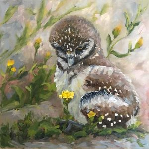 painting of owlet holding a flower