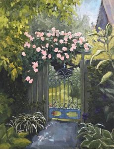 garden gate with roses painting