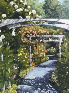 Path under rose arbor at Hortensia House, New Zealand