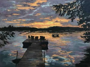 commissioned painting of sunset at Grape Island