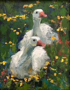 Two geese in grass painting