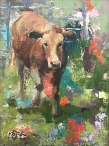Cow painting with abstract background